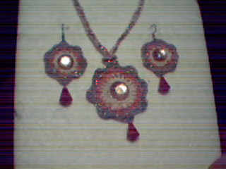 Crochet Necklace and Earrings Set with Gemstones
