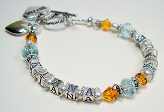 Mother Name Bracelet Beaded Single Strand Image